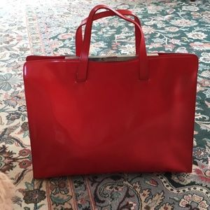 Furla leather clasp large bright red handbag